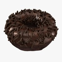 3D realistic chocolate sprinkle donut model