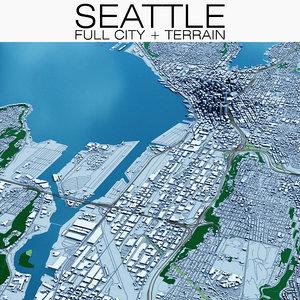3D model seattle terrain city