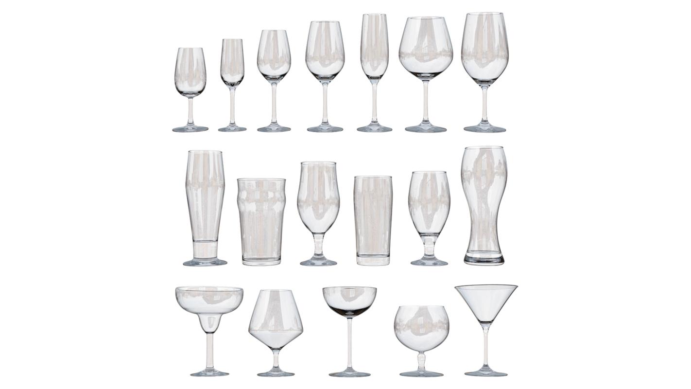 3D alcoholic glasses