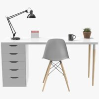 Modern Desk With Accessories