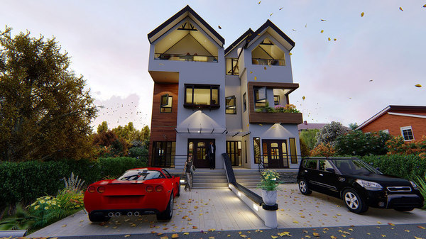 duplex building house 3D model