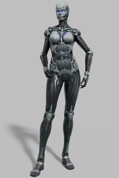 cyborg female sexy 3D model