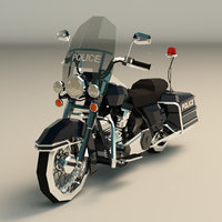 Low Poly Police Motorcycle 01