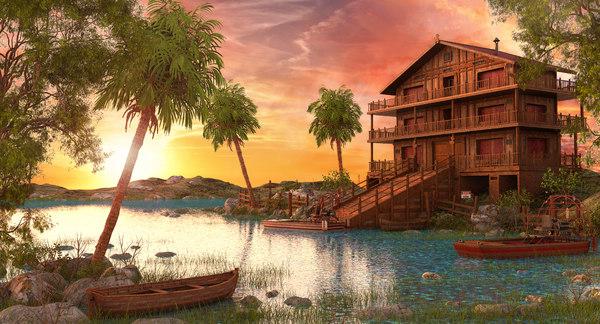 3D model sunset river house