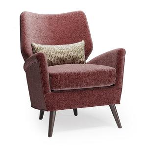 arteriors beck chair 3D
