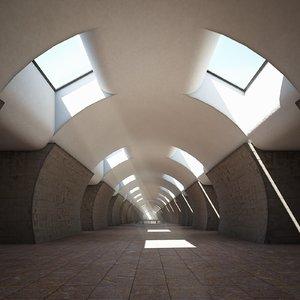3D corridor gallery stairs
