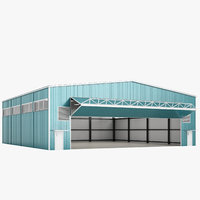 3D airport hangar open