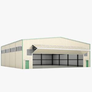 airport hangar open 3D model