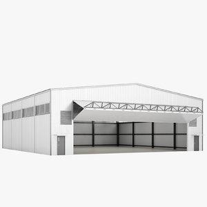airport hangar open 3D