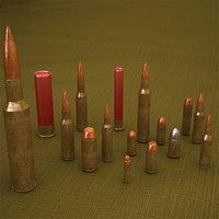 3D bullets cartridge model