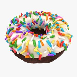 3D realistic vanilla sprinkle donut