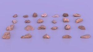 realistic pack small rocks 3D model