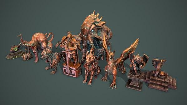 fantasy statue 3D