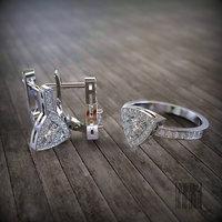 3D set ring earrings gemstones model