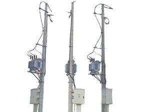 3D model tower powerlines street