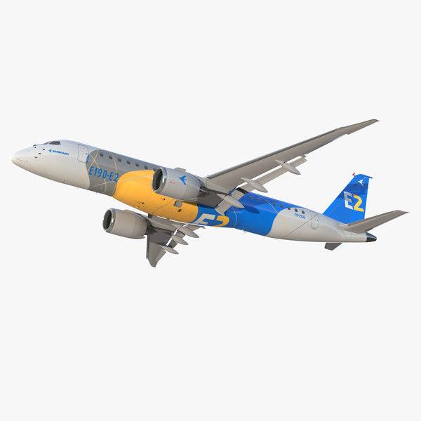 3D embraer e-jet e190-e2 jet model
