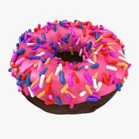 realistic strawberry sprinkle donut 3D