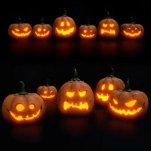 halloween pumpkins set 3D model