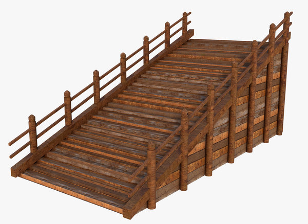 3D model stairs wood rustic