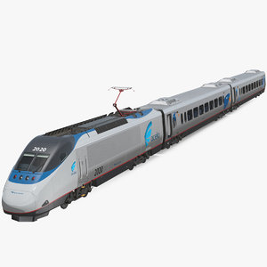 amtrak acela express train 3D model
