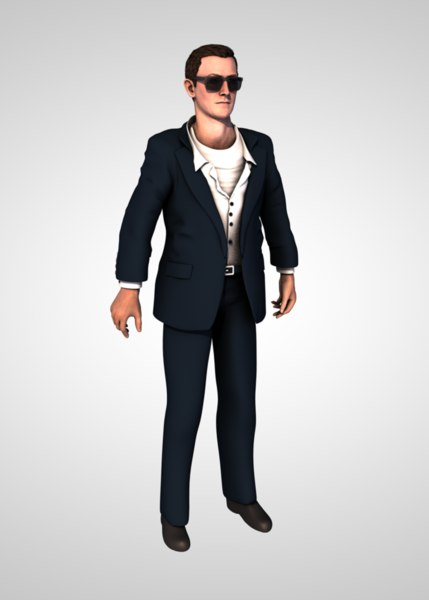 3D man business suit model