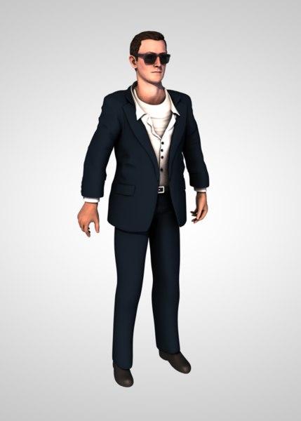 3D man business suit model