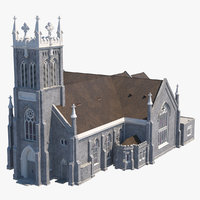 3D ancient catholic church model