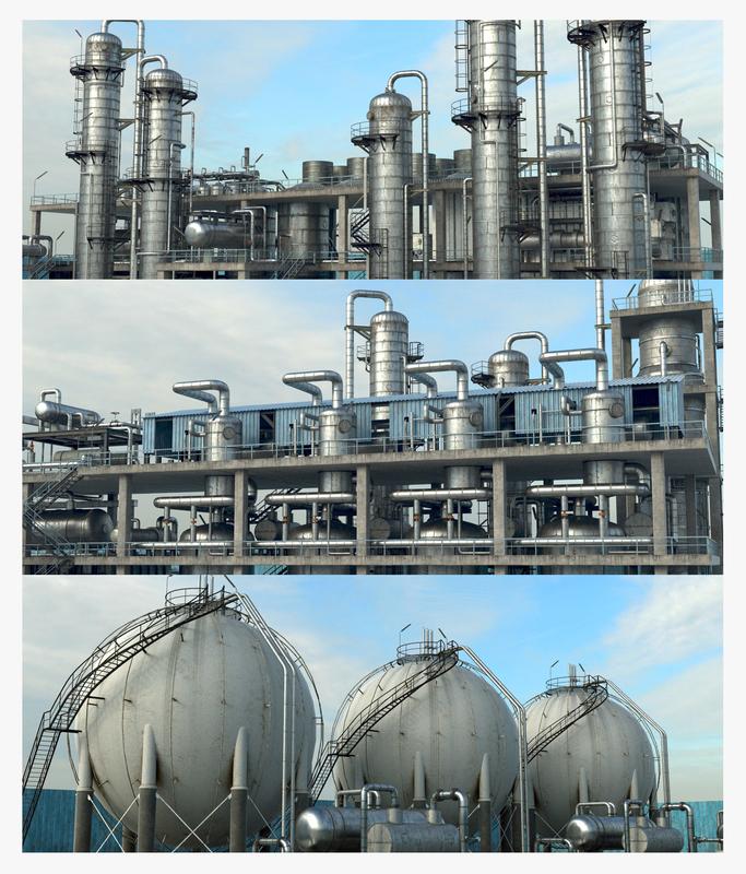 3D pbr refinery unit 3