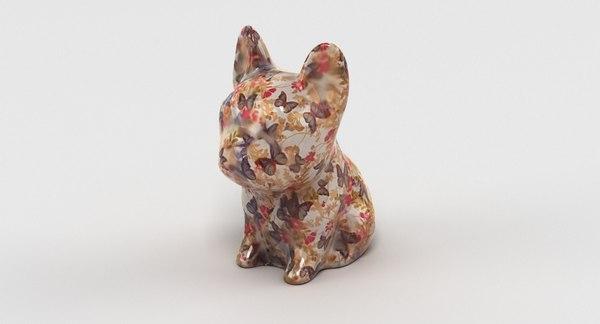3D french bulldog statue