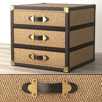 3D model mayfair rattan 3-drawer cube