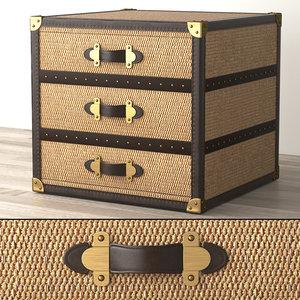 3D model mayfair rattan 3-drawer cube