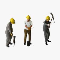 worker pickaxe shovel model
