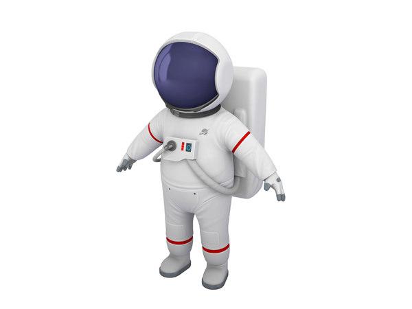 3D astronaut character cartoon model