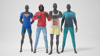 Male mannequins whith clothes STRONG pack 3D model