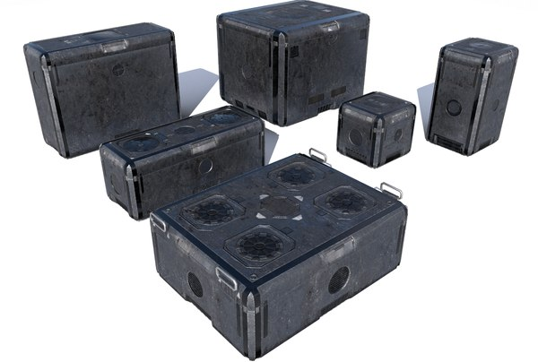 3D futuristic cargo storage crate