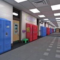 3D school hallway
