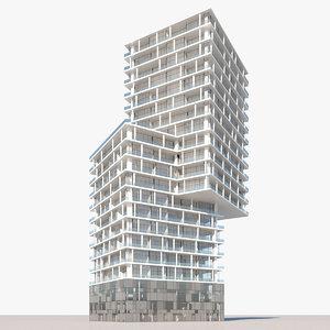 3D model rise apartment building