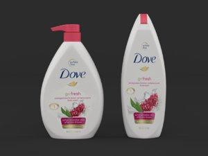 3D dove body wash shower model