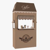 3D coffee booth sugar cup tea