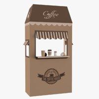 3D coffee booth sugar cup tea