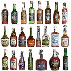 bottles alcohol 3D