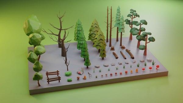 assets trees grass rocks 3D