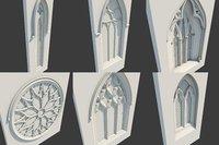Gothic medieval 6 windows set