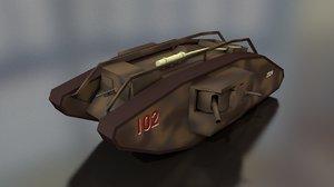 3D male mark v tank