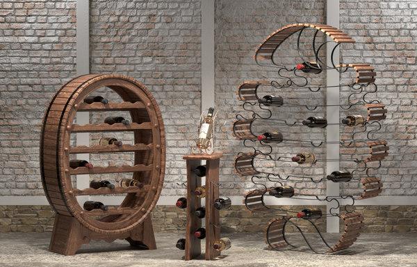 3D wood wine model