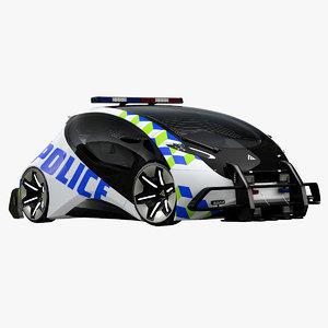 3D futuristic police compact car model