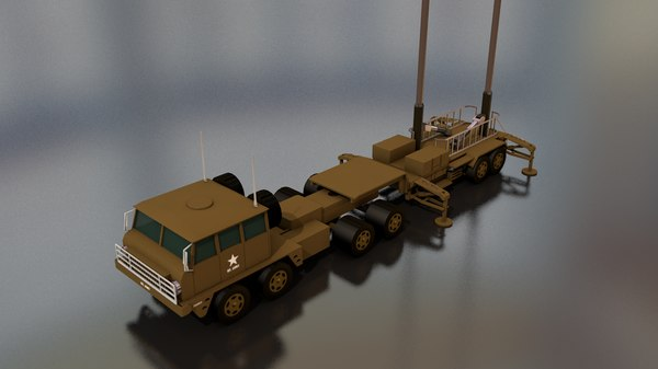 3D patriot antenna military truck