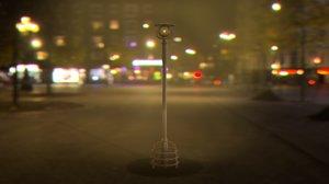3D street light cyberpunk sci-fi model
