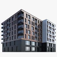3D modern residential building model