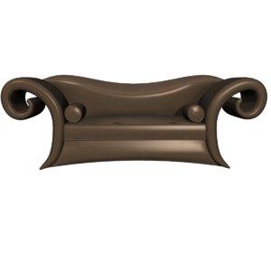 3D canap en cuir couleur model